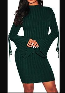 🍁🎄New! Sexy Ribbed Long Sleeve Sweater Dress